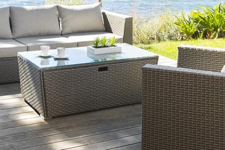 Table basse salon jardin r sine tasmania taupe hesperide for Table basse salon de jardin