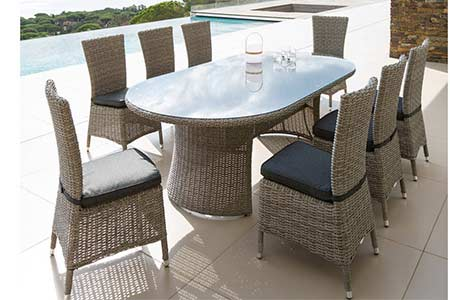 table de jardin hesp ride ovale libertad 8 places en r sine tress e. Black Bedroom Furniture Sets. Home Design Ideas