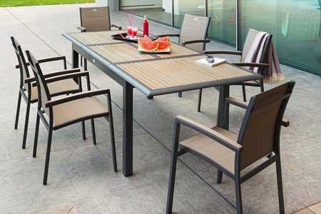 Table hesperide extensible rectangulaire azua 6 10 places composite - Table de jardin hesperide azua ...