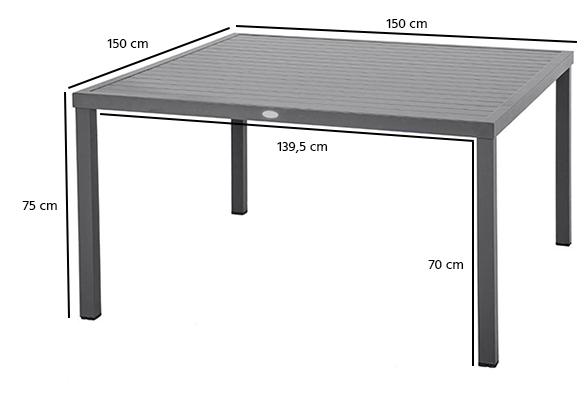 Table de jardin carr e piazza 8 places hesp ride - Table carree 8 places ...