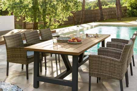 table de jardin rectangulaire hesp ride mod le aura 6 places. Black Bedroom Furniture Sets. Home Design Ideas