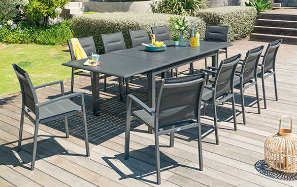 Table rectangulaire extensible hesp ride azua 6 10 places - Table de jardin hesperide azua ...