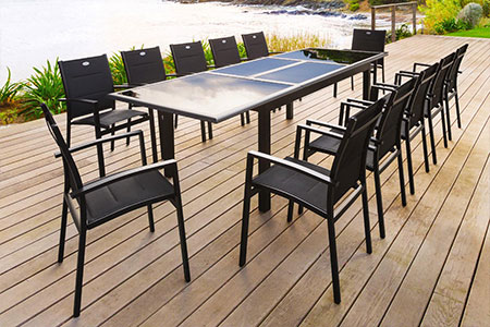 table de jardin hesp ride extensible azua 8 12 places jardideco. Black Bedroom Furniture Sets. Home Design Ideas