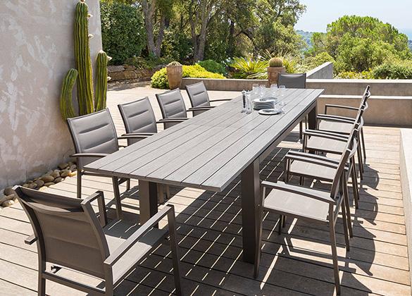table de jardin extensible hesperide mod le heraklion 6 10. Black Bedroom Furniture Sets. Home Design Ideas