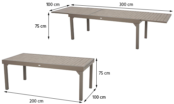 table de jardin extensible composite hesperide piazza 10 12 places. Black Bedroom Furniture Sets. Home Design Ideas