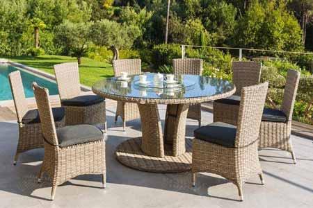 Table de jardin Hespéride résine ronde tressée Libertad Taupe