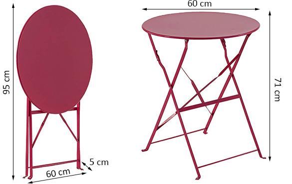 table de jardin hesp ride m tal pliante ronde camargue jardideco. Black Bedroom Furniture Sets. Home Design Ideas