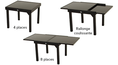 table extensible en verre piazza 4 8 places. Black Bedroom Furniture Sets. Home Design Ideas