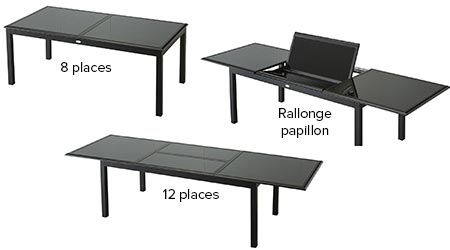 Table de jardin hesp ride extensible azua 8 12 places for Table a rallonge 12 personnes