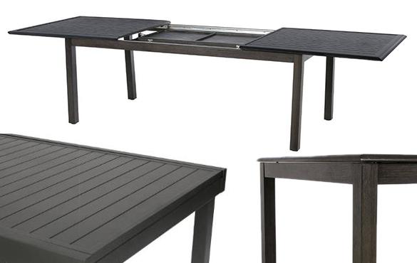 table de jardin extensible effet bois hesperide azua 8 12 places. Black Bedroom Furniture Sets. Home Design Ideas