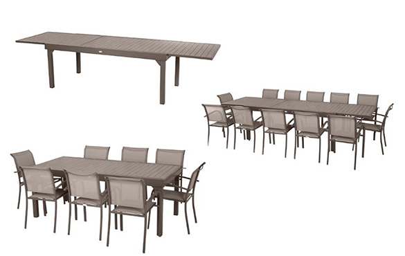 Table extensible aluminium hesperide piazza 10 112 places for Table extensible pour 12 personnes