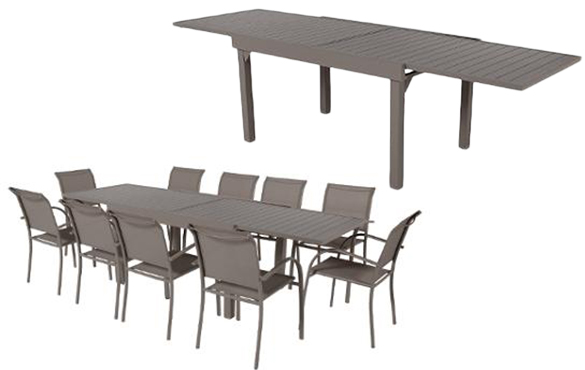 table de jardin extensible aluminium hesperide piazza 8 10 places. Black Bedroom Furniture Sets. Home Design Ideas