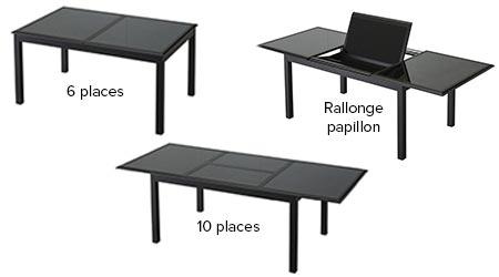 Table extensible azua 6 10 places noir hesp ride jardideco - Table de jardin noire extensible gracioza ...