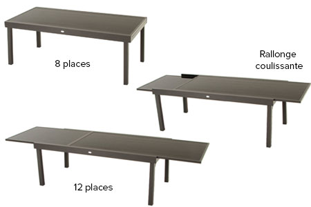 Table de jardin hesp ride extensible piazza 8 12 places for Table extensible 2 a 8 personnes