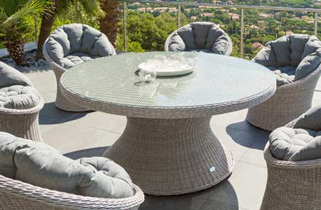 Beautiful salon de jardin table ronde resine images awesome interior home satellite for Table ronde en resine tressee