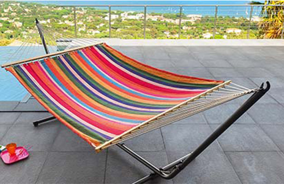 support r glable pour hamac tissu noir jardideco. Black Bedroom Furniture Sets. Home Design Ideas