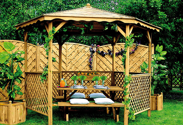 Tonnelle de jardin Lora avec toit bois   Jardipolys à petit prix